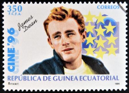 dean: EQUATORIAL GUINEA - CIRCA 1996: A Stamp printed in Guinea dedicated to cinema shows James Dean, circa 1996 Editorial