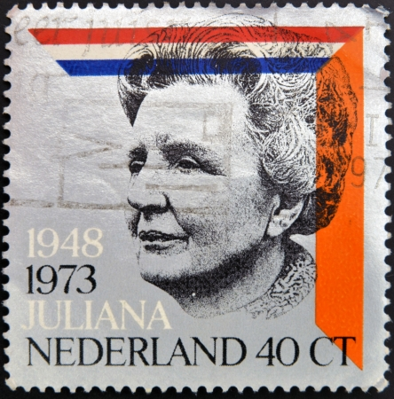 HOLLAND - CIRCA 1973: A stamp printed in the Netherlands for the silver jubilee of the reign of Queen Juliana, circa 1973  Editorial