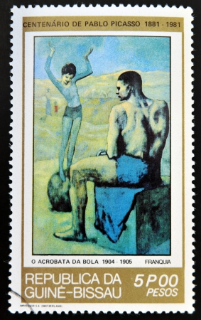 GUINEA - CIRCA 1981: A stamp printed in Republic of Guinea Bissau shows Acrobat on a Ball by Pablo Picasso, circa 1981