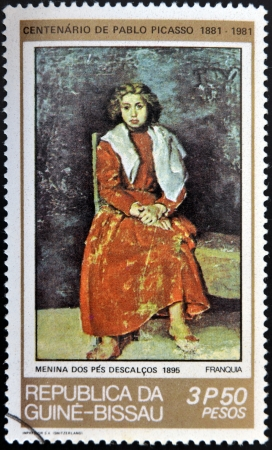 surrealist: GUINEA - CIRCA 1981: A stamp printed in Republic of Guinea Bissau shows The Barefoot Girl  by Pablo Picasso, circa 1981