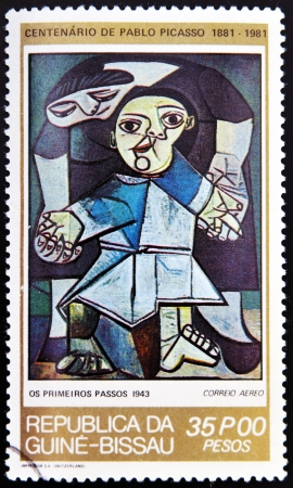 surrealist: GUINEA - CIRCA 1981: A stamp printed in Republic of Guinea Bissau shows The first steps by Pablo Picasso, circa 1981 Editorial