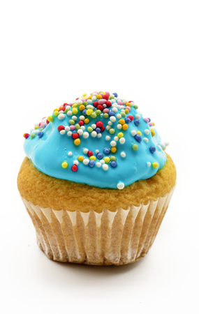 cupcakes isolated: cupcake with blue cream
