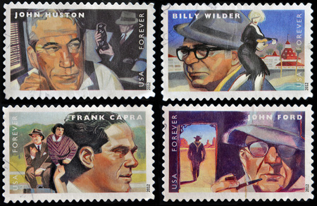john wayne: UNITED STATES OF AMERICA - CIRCA 2012: stamps printed in USA dedicated to the Great Film Directors First-Class Forever, circa 2012