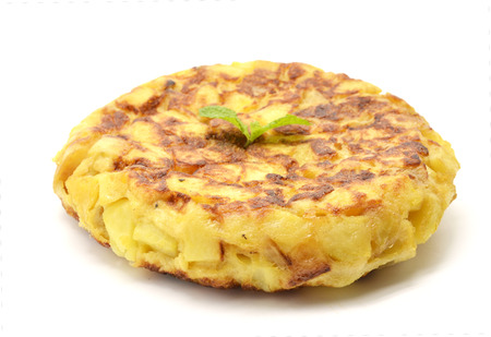 an omelette: Spanish tortilla (omelet with potatoes and onions)