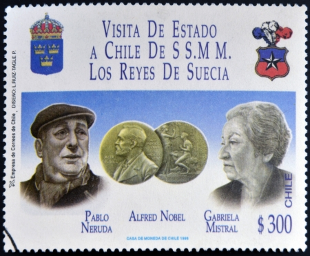 pablo neruda: CHILE - CIRCA 1996: A stamp printed in Chile dedicated to visit of the kings of Sweden, shows Pablo Neruda and Gabriela Mistral, Nobel prize, circa 1996