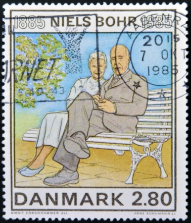 physicist: DENMARK - CIRCA 1985: A stamp printed in Denmark shows Birth Centenary of Niels Bohr, nuclear physicist, circa 1985  Editorial
