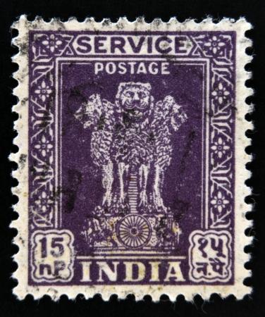 ashoka: INDIA - CIRCA 1967: A stamp printed in India shows four Indian lions capital of Ashoka Pillar, circa 1967