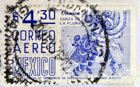 MEXICO - CIRCA 1950: a stamp printed in Mexico shows feather dance, Oaxaca, circa 1950  photo