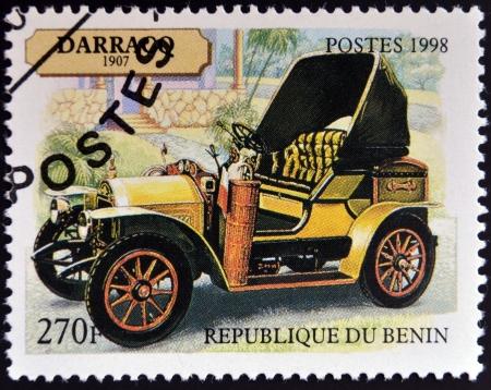 roadster: BENIN - CIRCA 1998: A stamp printed in Benin shows vintage car, circa 1998