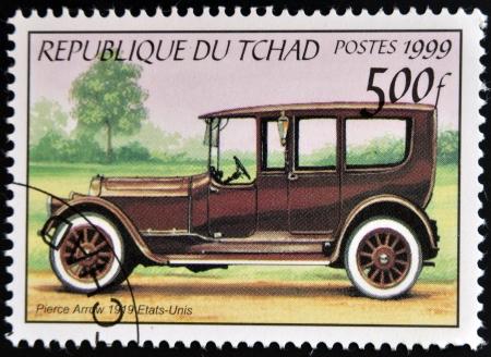 pierce: CHAD - CIRCA 1999: A stamp printed in Chad shows vintage car, Pierce Arrow, USA, circa 1999