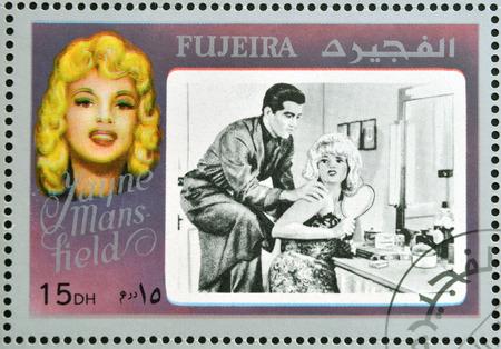 FUJEIRA - CIRCA 1972 : stamp printed in Fujeira shows actress Jayne Mansfield, circa 1972  Editorial