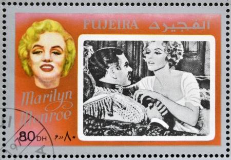 marilyn: FUJEIRA - CIRCA 1972 : stamp printed in Fujeira shows actress Marilyn Monroe, circa 1972
