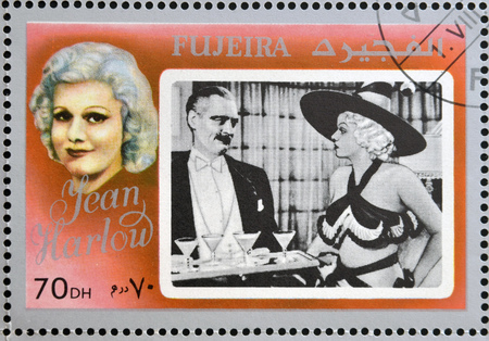 FUJEIRA - CIRCA 1972 : stamp printed in Fujeira shows actress Jean Harlow, circa 1972  Editorial