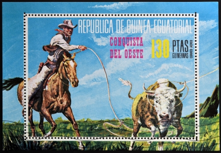 EQUATORIAL GUINEA - CIRCA 1976: stamp printed in Equatorial Guinea, shows the conquest of the West, circa 1976