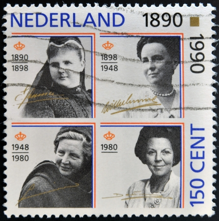regnant: NETHERLANDS - CIRCA 1990: A stamp printed in the Netherlands shows Beatrix of the Netherlands, circa 1990  Editorial