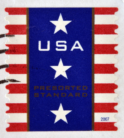 UNITED STATES OF AMERICA - CIRCA 2007: A stamp printed in USA shows Patriotic Banner, circa 2007 Editorial