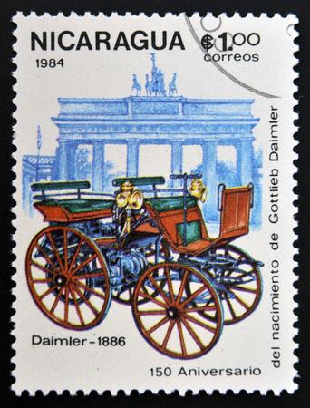 daimler: NICARAGUA - CIRCA 1984: A stamp printed in Nicaragua shows retro car, Daimler, 1886, circa 1984
