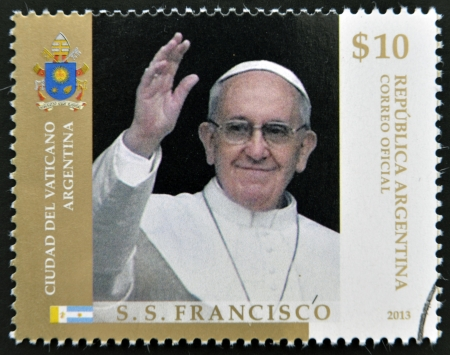ARGENTINA - CIRCA 2013: A stamp printed in Argentina shows pope Francis I, circa 2013