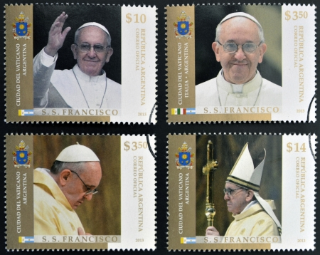 francis: ARGENTINA - CIRCA 2013: stamps printed in Argentina shows pope Francis I, circa 2013