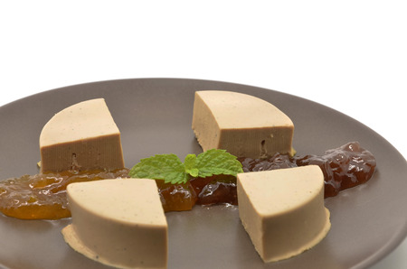 dish with foie gras and marmalade photo