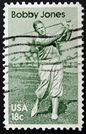 UNITED STATES OF AMERICA - CIRCA 1981: A stamp printed in USA shows golf player Bobby Jones, circa 1981