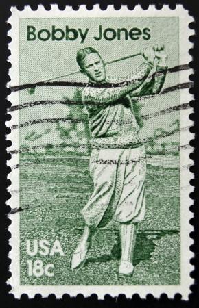 jones: UNITED STATES OF AMERICA - CIRCA 1981: A stamp printed in USA shows golf player Bobby Jones, circa 1981