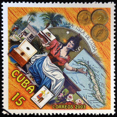CUBA - CIRCA 2003: A stamp printed in cuba dedicated to Cuban cigars, shows a woman offering snuff, circa 2003