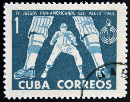 CUBA - CIRCA 1963: A stamp printed in Cuba dedicated to Pan American Games in Sao Paulo, Brazil, shows  baseball