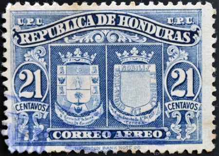 HONDURAS - CIRCA 1970: A stamp printed in Honduras shows historical shields, circa 1970