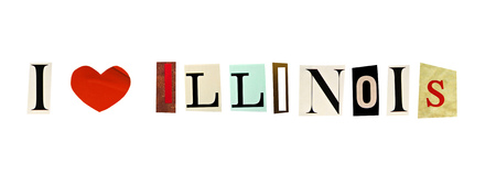 I Love Illinois formed with magazine letters on a white background photo