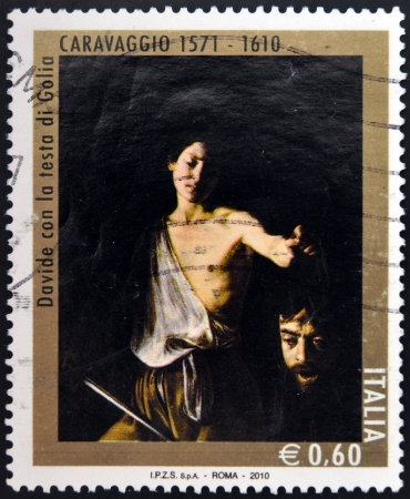 david and goliath: ITALY - CIRCA 2010: A stamp printed in Italy shows David with the Head of Goliath by Caravaggio, circa 2010  Editorial