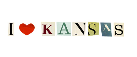 I Love Kansas formed with magazine letters on a white background photo