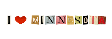 I Love Minnesota formed with magazine letters on a white background photo