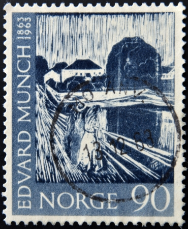 printmaker: NORWAY - CIRCA 1963: A stamp printed in Norway shows Painting Three girls on the Bridge by Edvard Munch, circa 1963