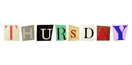 Thursday formed with magazine letters on a white background Stock Photo - 24080886