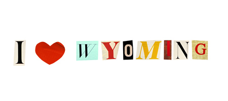 I Love Wyoming formed with magazine letters on a white background photo