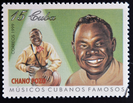 percussionist: CUBA - CIRCA 1999: A stamp printed in cuba dedicated to  famous Cuban musicians, shows Chano Pozo, circa 1999 Editorial