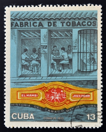 CUBA - CIRCA 1970: A stamp printed in Cuba shows tobacco factory, circa 1970