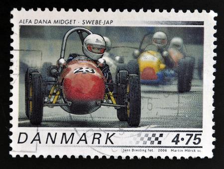 midget: DENMARK - CIRCA 2006: A stamp printed in Denmark shows 1958 Alfa Dana Midget, Swebe - JAP, circa 2006.