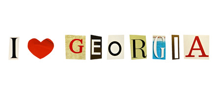 I Love Georgia formed with magazine letters on a white background photo