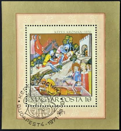 chronicle: HUNGARY - CIRCA 1971: A stamp printed in Hungary shows Bazarads Victory over King Karoly I, series Miniatures from Chronicle of King Lajos I, circa 1971