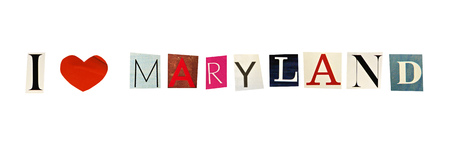 Maryland word formed with magazine letters on a white background photo
