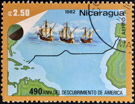 pinta: NICARAGUA - CIRCA 1982: A stamp printed in Nicaragua dedicated to discovery of America by Christopher Columbus, circa 1982
