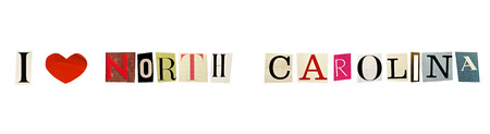 I Love North Carolina formed with magazine letters on a white background photo