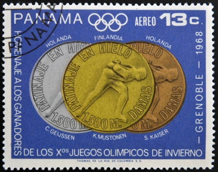 tribute: PANAMA - CIRCA 1968  Stamp printed in Panama tribute to the winners of the Olympic Winter Games Grenoble, circa 1968