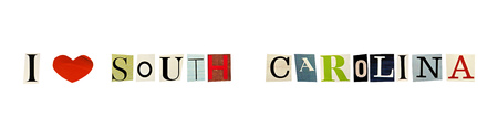 I Love South Carolina formed with magazine letters on a white background photo