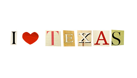 I Love Texas formed with magazine letters on a white background photo