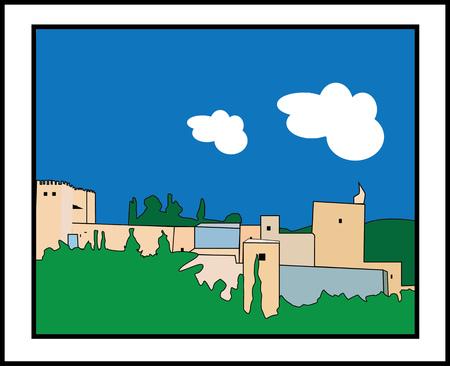 alhambra: painting alhambra Illustration