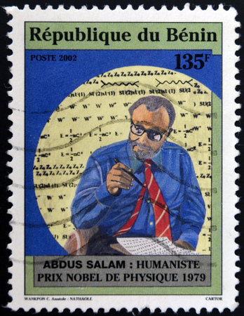 nobel: BENIN - CIRCA 2002: A stamp printed in Benin shows Abdus Salam, humanist nobel prize in physics 1979, circa 2002