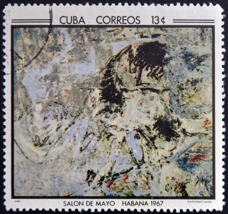 jorn: CUBA - CIRCA 1968: Stamp printed in Cuba commemorative to May Salon, 1967, shows Stalingrade by Jorn, circa 1968